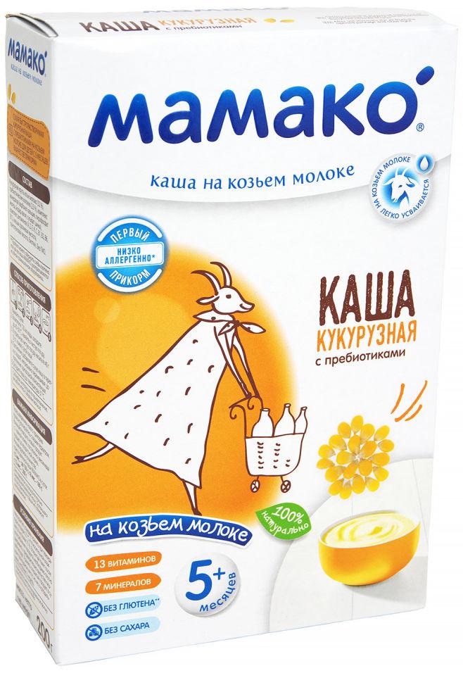 Каша Мамако Кукурузная с пребиотиками на козьем молоке с 5 месяцев 200г (упаковка 3 шт.)