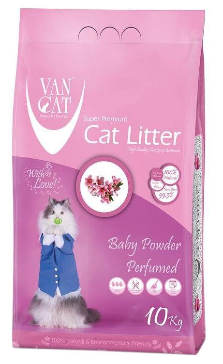 Наполнитель для кошачьего туалета Van Cat Baby Powder с ароматом детской присыпки 10кг