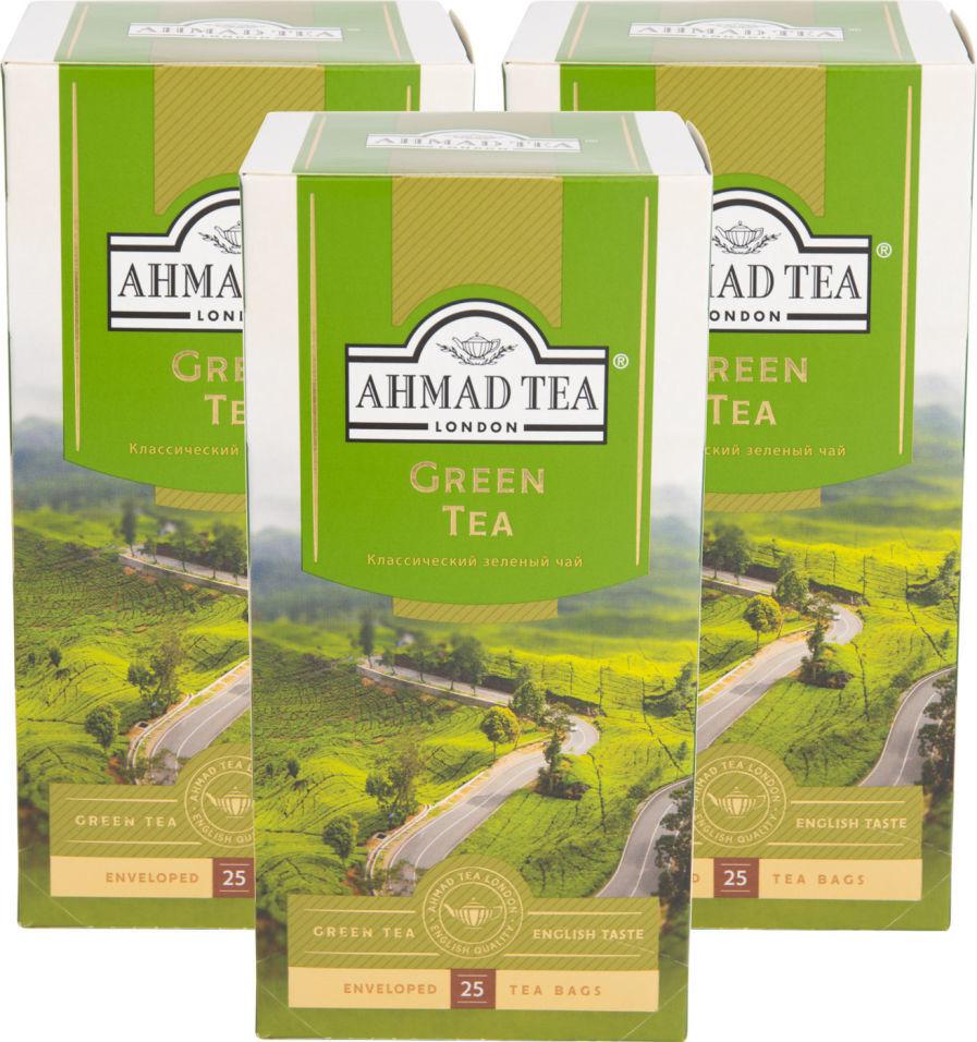 Чай зеленый Ahmad Tea Green Tea 25 пак (упаковка 3 шт.)