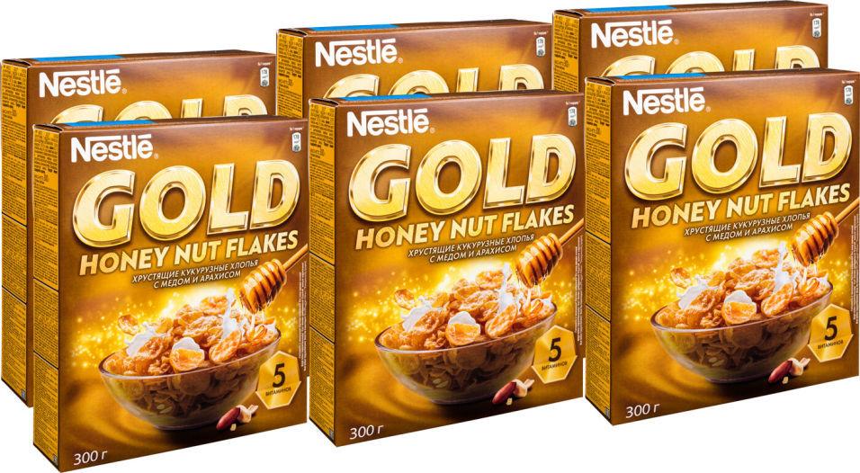 Хлопья Nestle Gold Кукурузные с медом и арахисом 300г (упаковка 3 шт.)