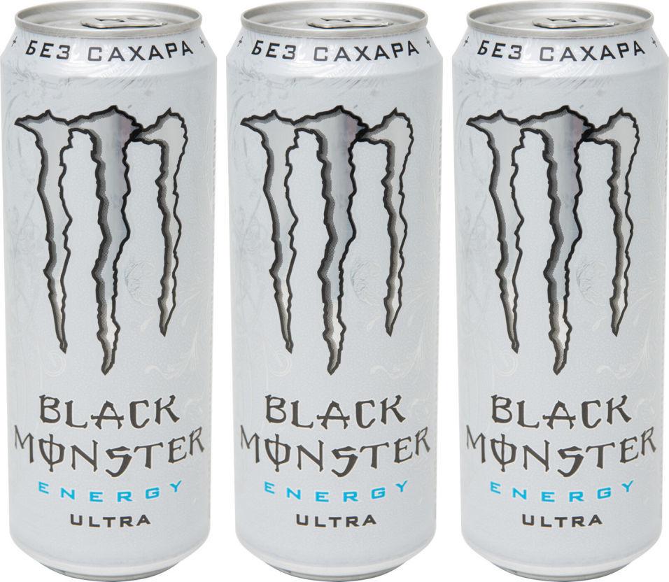 Напиток тонизирующий Black Monster Energy Ultra 449мл (упаковка 3 шт.)