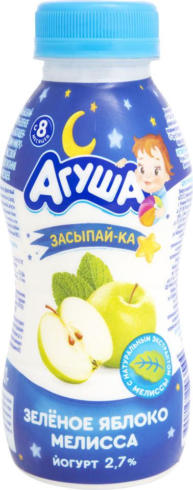Йогурт Агуша Засыпайка зеленое яблоко мелисса обогащенный пробиотиками 2.7% с 8 месяцев 180г