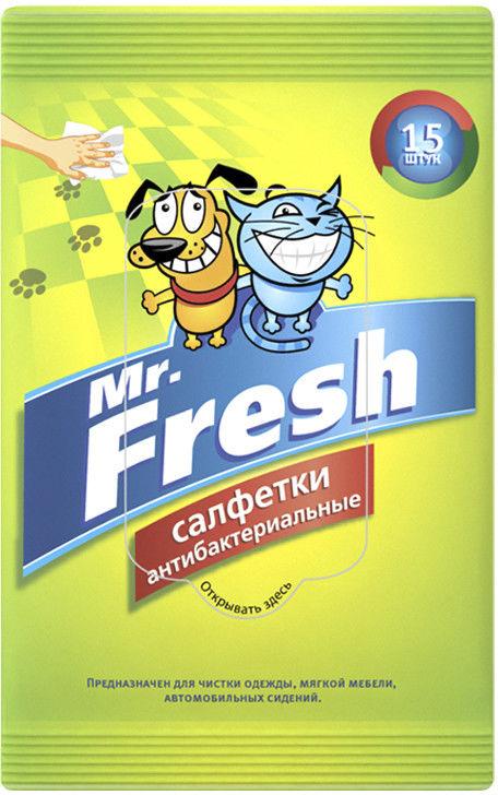 Салфетки влажные Mr.Fresh антибактериальные для лап 15шт