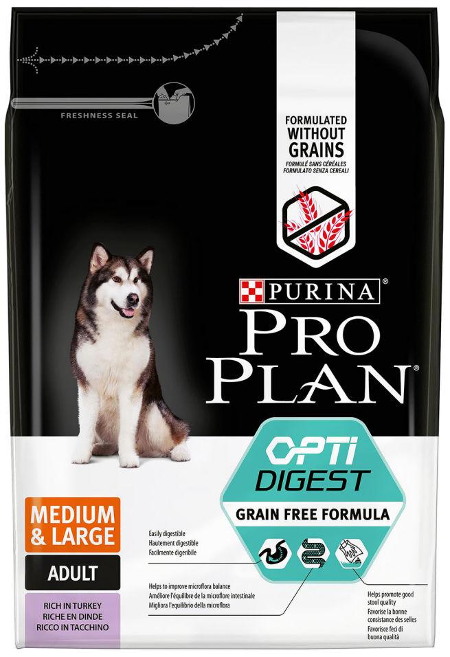 Сухой корм для собак Pro Plan Optidigest Medium&Large Adult Grain Free Formula с индейкой 2.5кг