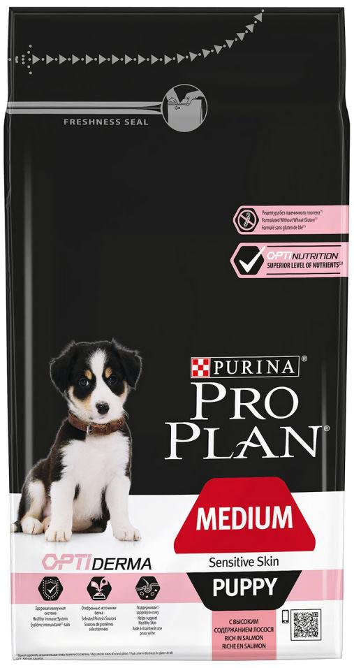 Сухой корм для щенков Pro Plan Optiderma Medium Puppy с лососем и рисом 1.5кг