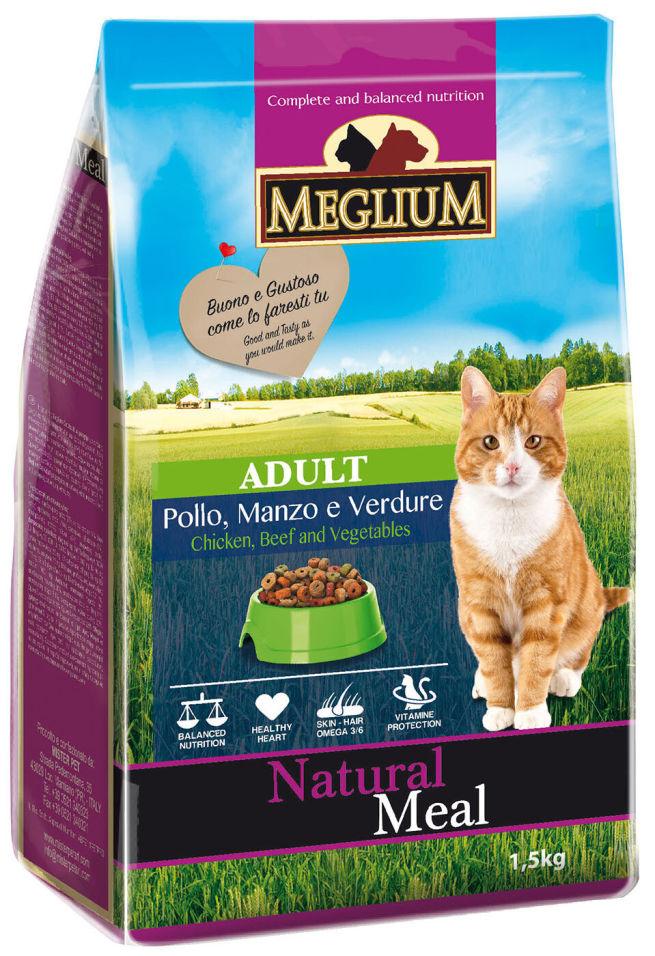 Сухой корм для кошек Meglium Adult Говядина Курица Овощи 1.5кг