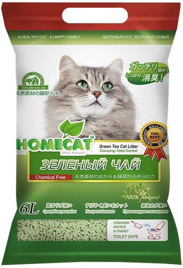 Наполнитель для кошачьего туалета Homecat Эколайн Зеленый чай комкующийся 6л