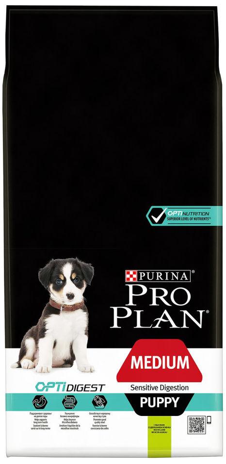 Сухой корм для щенков Pro Plan Optidigest Medium Puppy Sensitive с ягненком и рисом 12кг