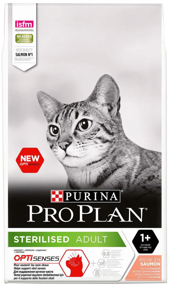 Сухой корм для кошек Pro Plan Optisenses Sterilised с лососем 10кг