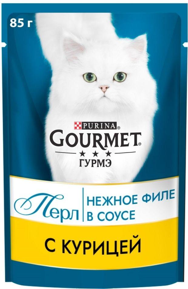 Корм для кошек Gourmet Perle Мини-филе с курицей в подливе 85г