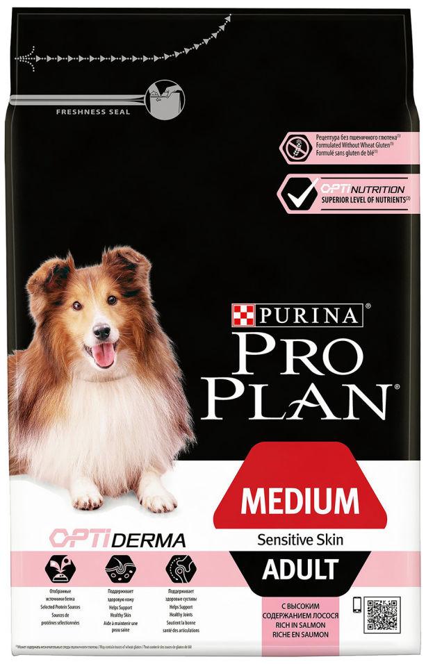 Сухой корм для собак Pro Plan Optiderma Medium Adult Sensitive с лососем и рисом 3кг