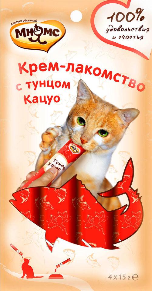 Крем-лакомство для кошек Мнямс с тунцом Кацуо 15г*4шт