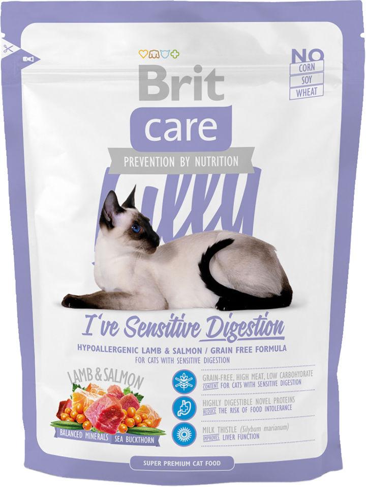 Сухой корм для кошек Brit care с чувствительным желудком с ягненком и лососем 400г