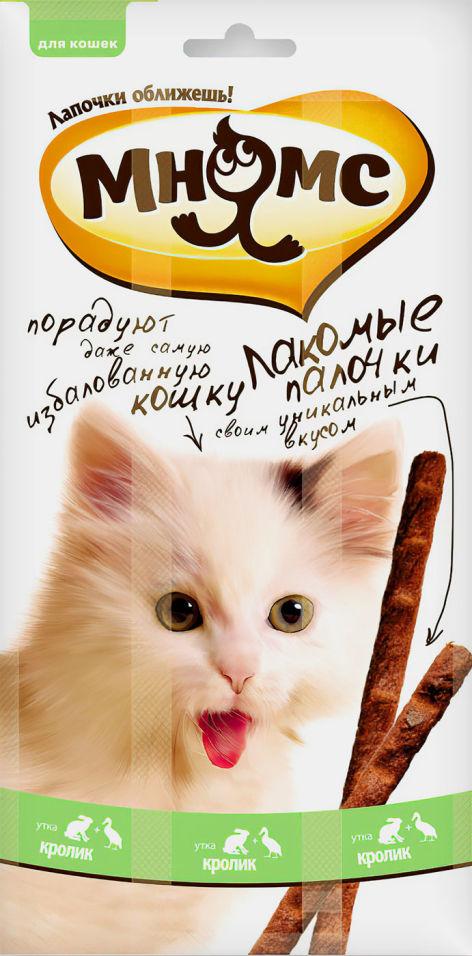 Отзывы о Лакомстве для кошек Мнямс Лакомые палочки с уткой и кроликом 13.5см 3шт*5г