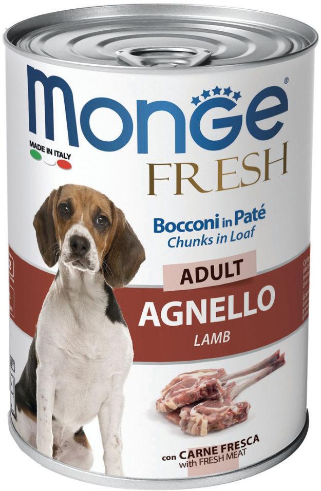 Отзывы о Корме для собак Monge Dog Fresh Chunks in Loaf рулет из ягненка 400г