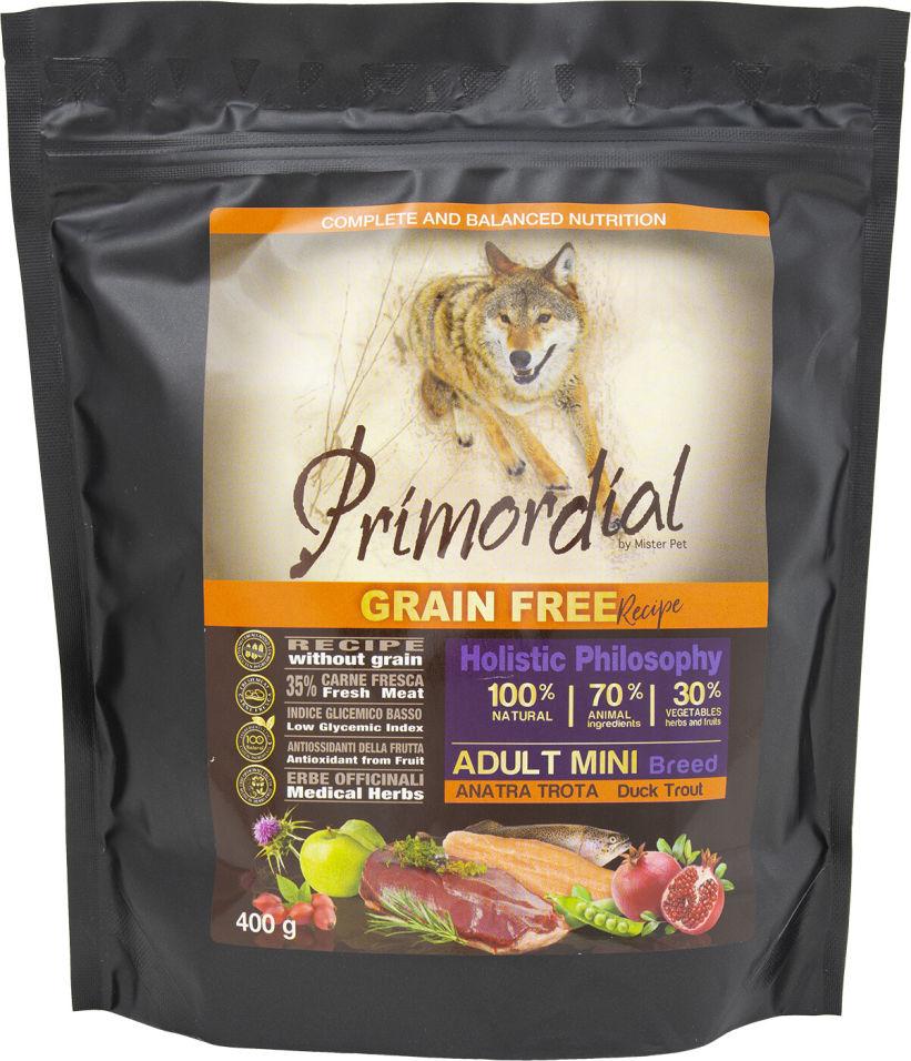 Сухой корм для собак Primordial для мелких пород Форель и Утка 400г