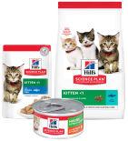 Набор корма для кошек Hills Science Plan Kitten с океанической рыбой 85г + Влажный корм мусс с курицей и индейкой 82г + Сухой корм с тунцом 1.5кг
