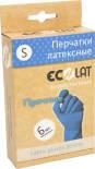 Перчатки EcoLat Хозяйственные латексные синие размер S 6шт