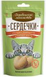 Лакомство для кошек Деревенские лакомства Сердечки для улучшения пищеварения и вывода шерсти 30г