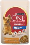 Корм для собак Purina One Мини с курицей морковью и зеленой фасолью в подливе 85г