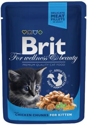 Корм для котят Brit Premium Кусочки с курицей 100г
