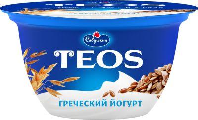 Йогурт Савушкин Греческий Teos Злаки с клетчаткой льна 2% 140г