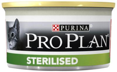 Влажный корм для стерилизованных кошек Pro Plan Sterilised паштет с тунцом и лососем 85г