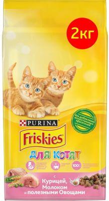 Сухой корм для котят Friskies с курицей молоком и овощами 2кг