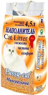 Наполнитель для кошачьего туалета Pussy-Cat Минеральный впитывающий 4.5л