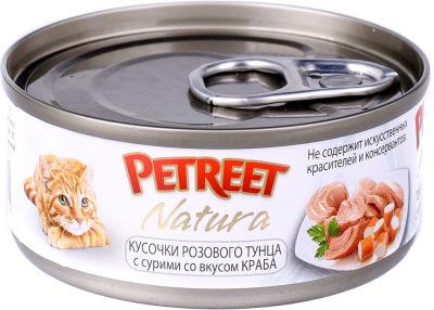 Корм для кошек Petreet Кусочки розового тунца с крабом сурими 70г