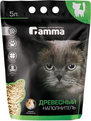 Наполнитель для кошачьего туалета Gamma древесный 5л