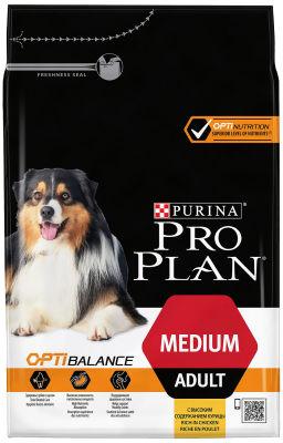 Сухой корм для собак Pro Plan Optibalance Medium Adult для средних пород с курицей 3кг