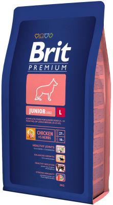 Сухой корм для собак Brit Premium Junior Large с курицей 3кг